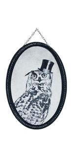 Black oswald owl printed canvas