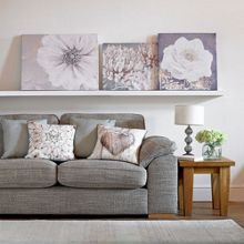 White lilac bloom printed canvas