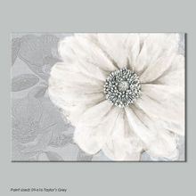 White grey bloom printed canvas