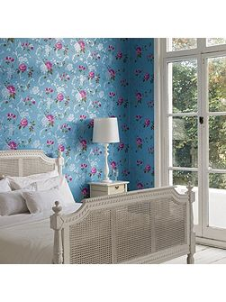Graham & Brown Northern Rose Blue/Pink Wallpaper