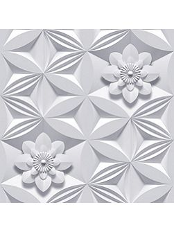 Grey wall flower wallpaper