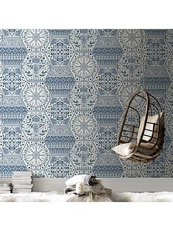 Blue & white world heritage wallpaper