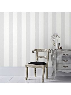 Grey Calico Stripe Wallpaper