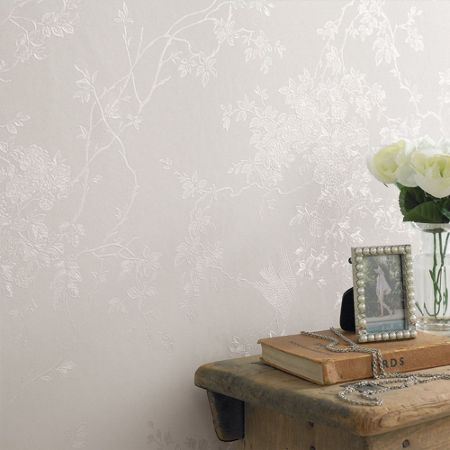 Graham & Brown White Shimmer Spring Blossom Wallpaper