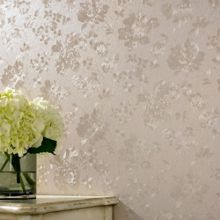 Golden Floral Silk Wallpaper