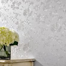 Silver Mist Floral Silk Wallpaper