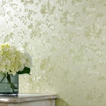 Green Shimmer Floral Silk Wallpaper