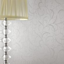 Graham & Brown Silver Mist Leaf Scroll Wallpaper
