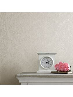 Cream shimmer damask wallpaper