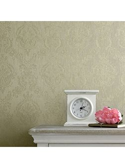 Green shimmer damask wallpaper