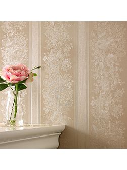 Golden floral stripe wallpaper