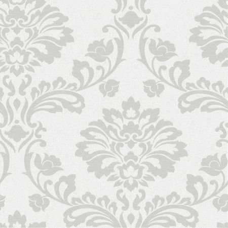 Graham & Brown White/Silver Aurora Wallpaper