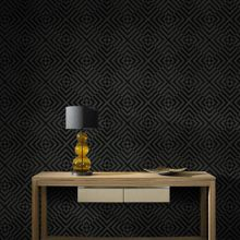 Graham & Brown The Hypnotist Noir Geometric Real Flock Wallpaper