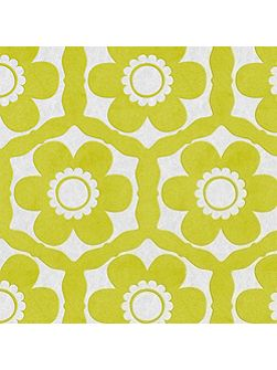 Lime & Ice Funky Flora Wallpaper