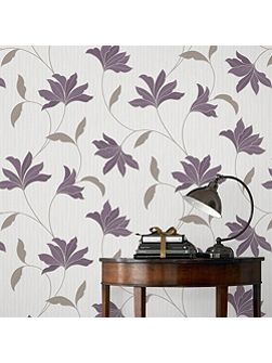 Plum / Silver Alannah Wallpaper