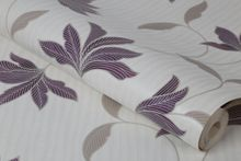 Graham & Brown Plum / Silver Alannah Wallpaper