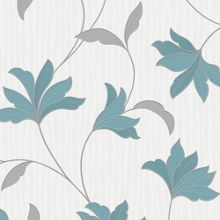 Graham & Brown Teal / Silver Alannah Wallpaper