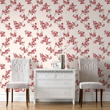 Graham & Brown Scarlet Cherry Blossom Wallpaper