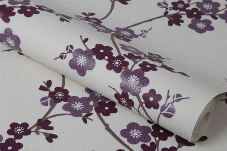 Graham & Brown Plum Cherry Blossom Wallpaper