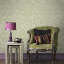 Graham & Brown Green / Cream Burlesque Wallpaper