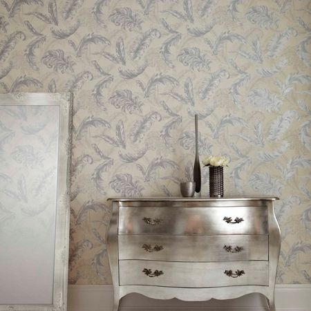 Graham & Brown White / Silver Gilded Feather Wallpaper