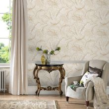 Graham & Brown Cream / Gold Gilded Feather Wallpaper