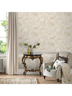 Cream / Gold Gilded Feather Wallpaper