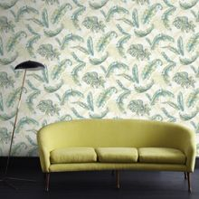 Graham & Brown Green / Teal Gilded Feather Wallpaper