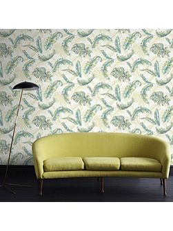 Green / Teal Gilded Feather Wallpaper