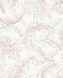 Pink / White Gilded Feather Wallpaper