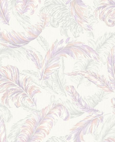 Graham & Brown Pink / White Gilded Feather Wallpaper