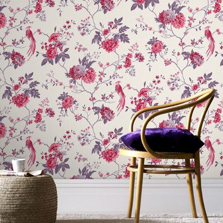 Graham & Brown Cream / Fuchsia Exotica Wallpaper