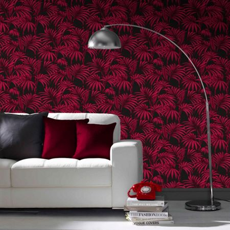 Graham & Brown Black / Fuchsia Honolulu Wallpaper