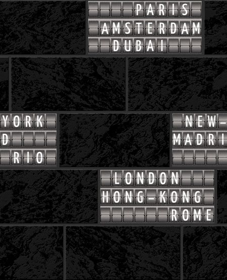 Graham & Brown Black / White Airport Tile Wallpaper