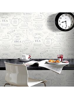White / Silver Afternoon Tea Wallpaper