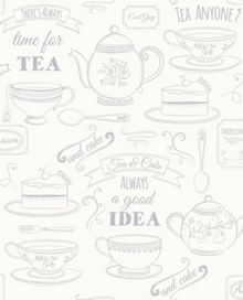 Graham & Brown White / Silver Afternoon Tea Wallpaper