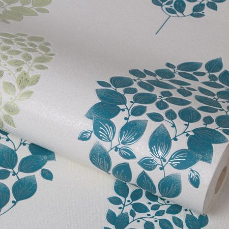 Graham & Brown Teal Lucy Wallpaper