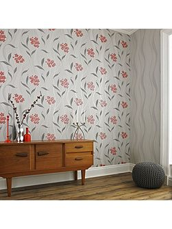 Elise Metallic Glitter Floral Coral/Grey Wallpape