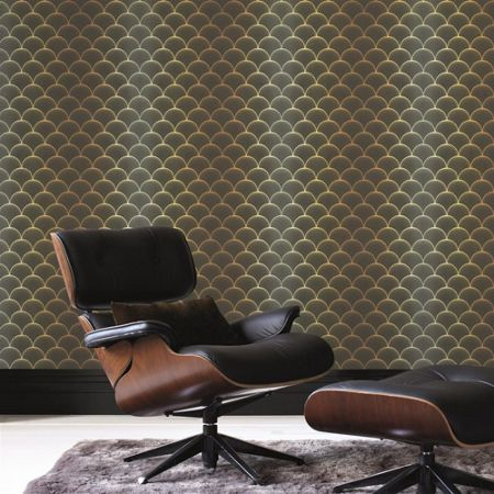 Graham & Brown Gold Black Prince Charles Wallpaper