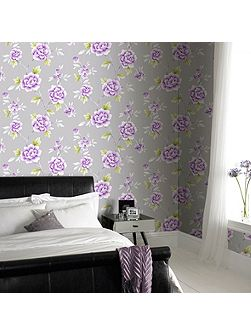 Violet Chinese Blossom Floral Wallpaper