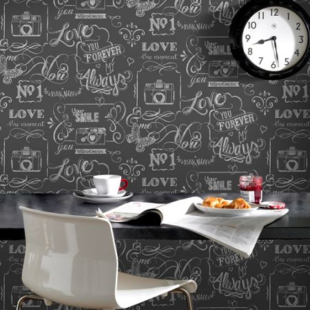 Graham & Brown Charcoal Love Life Rules Script Wallpaper
