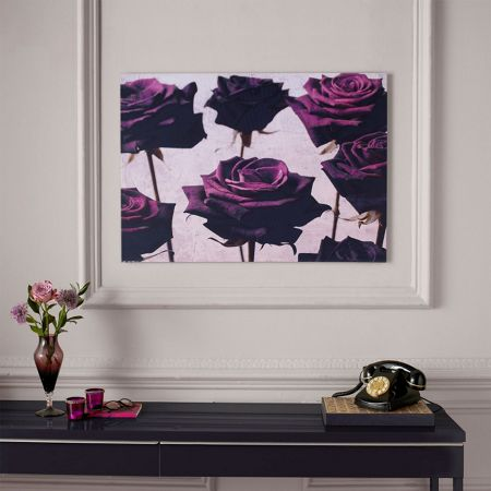 Graham & Brown Purple Velvet Roses Printed Canvas