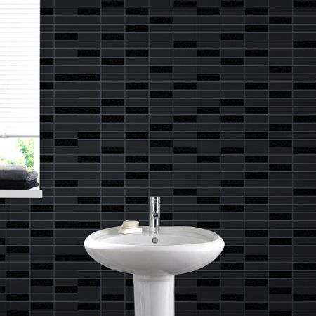 Graham & Brown Black Sparkle Rimini Tile  Wallpaper