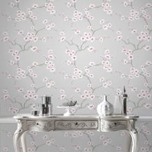 Graham & Brown Grey Chinese Blossom Tree Wallpaper