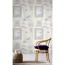 Graham & Brown Cream & Violet Vintage Frames Wallpaper
