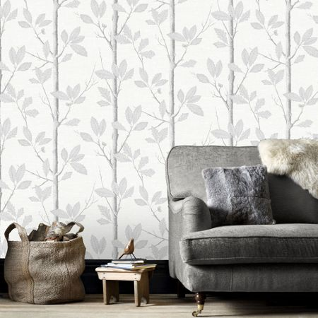 Graham & Brown Grey Acorn Forrest Inspired Wallpaper