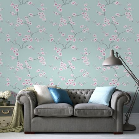 Graham & Brown Blue Chinese Blossom Tree Print Wallpaper