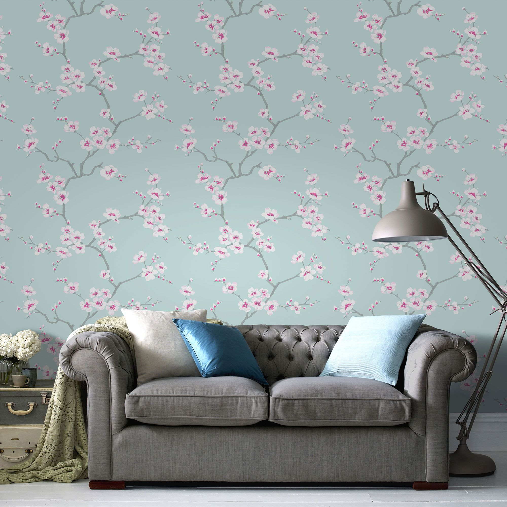 Graham Brown Blue Chinese Blossom Tree Print Wallpaper