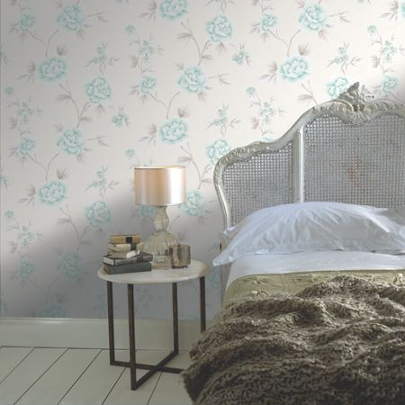Graham & Brown Pale Green Chinese Blossom Floral Wallpaper