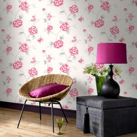 Graham & Brown Pink Chinese Blossom Flroal Wallpaper